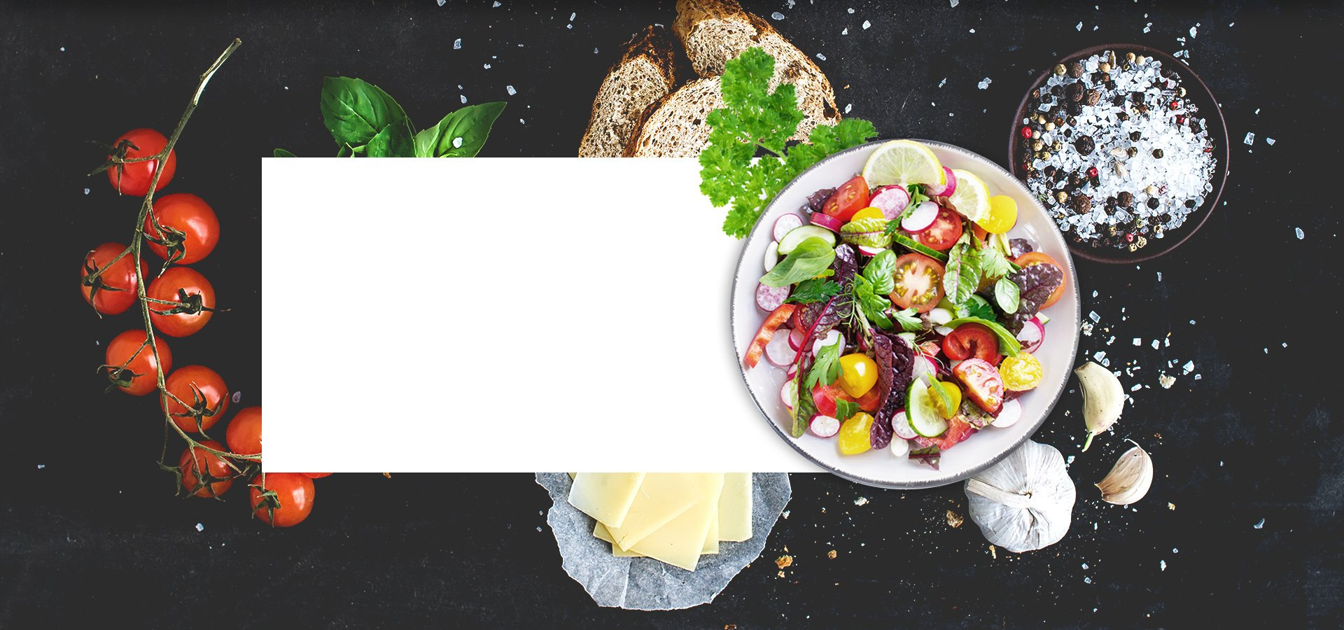 salad background with label